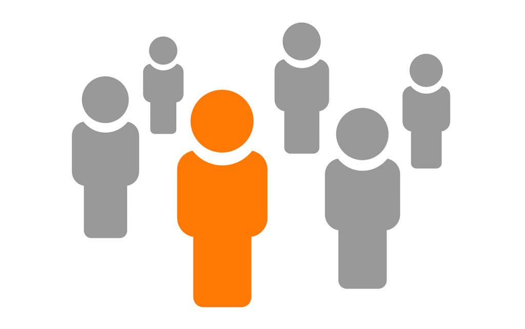 Illustration of five gray people with one orange person in the middle.