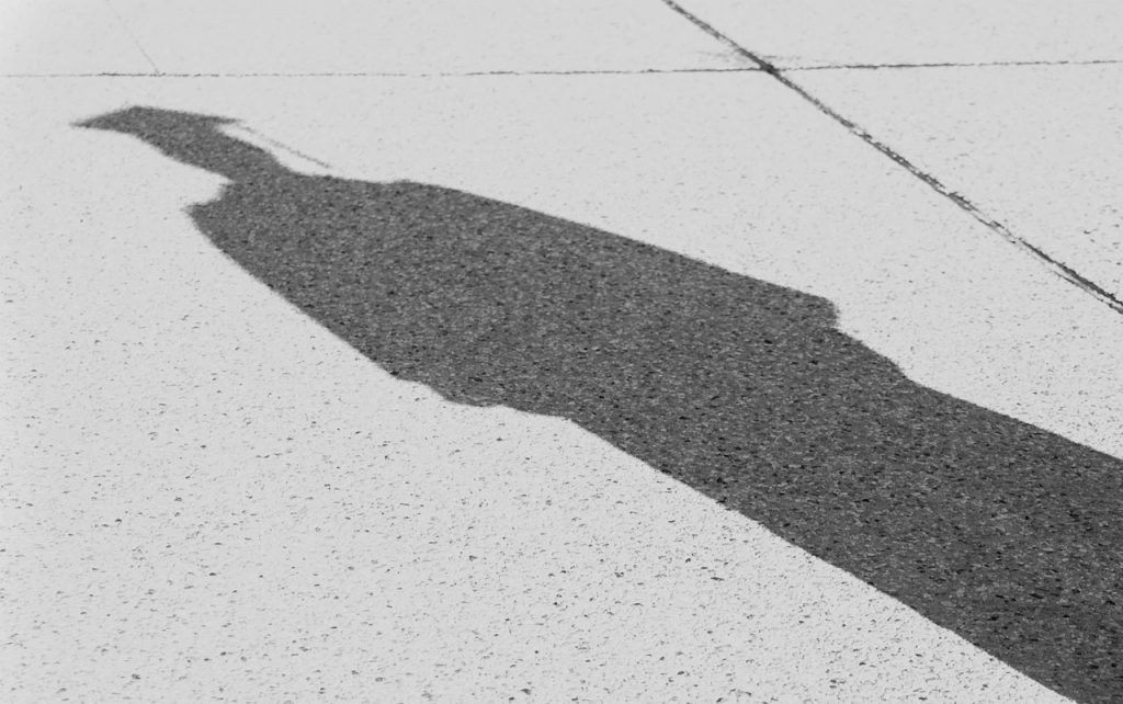 Shadow of a student wearing a graduation cap and gown.
