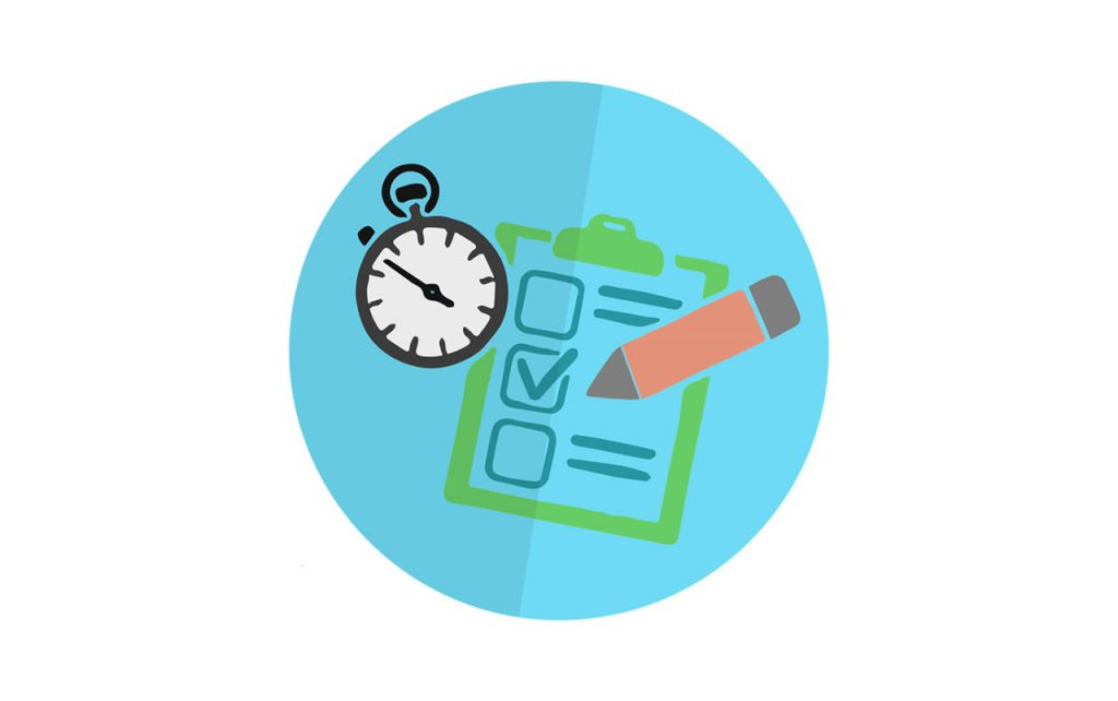 Illustration of a blue circle containing a stopwatch, a pencil, and a clipboard holding a checklist.