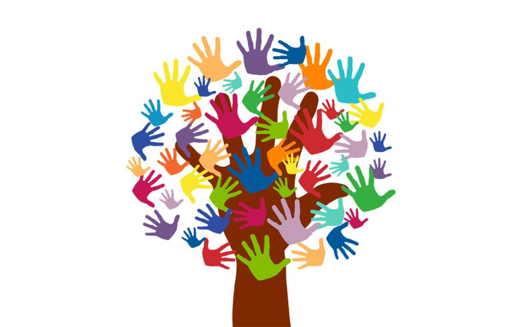 Illustration of a tree made out of hands. The trunk is a brown hand and the leaves are made up of multicolored hands of varying sizes.