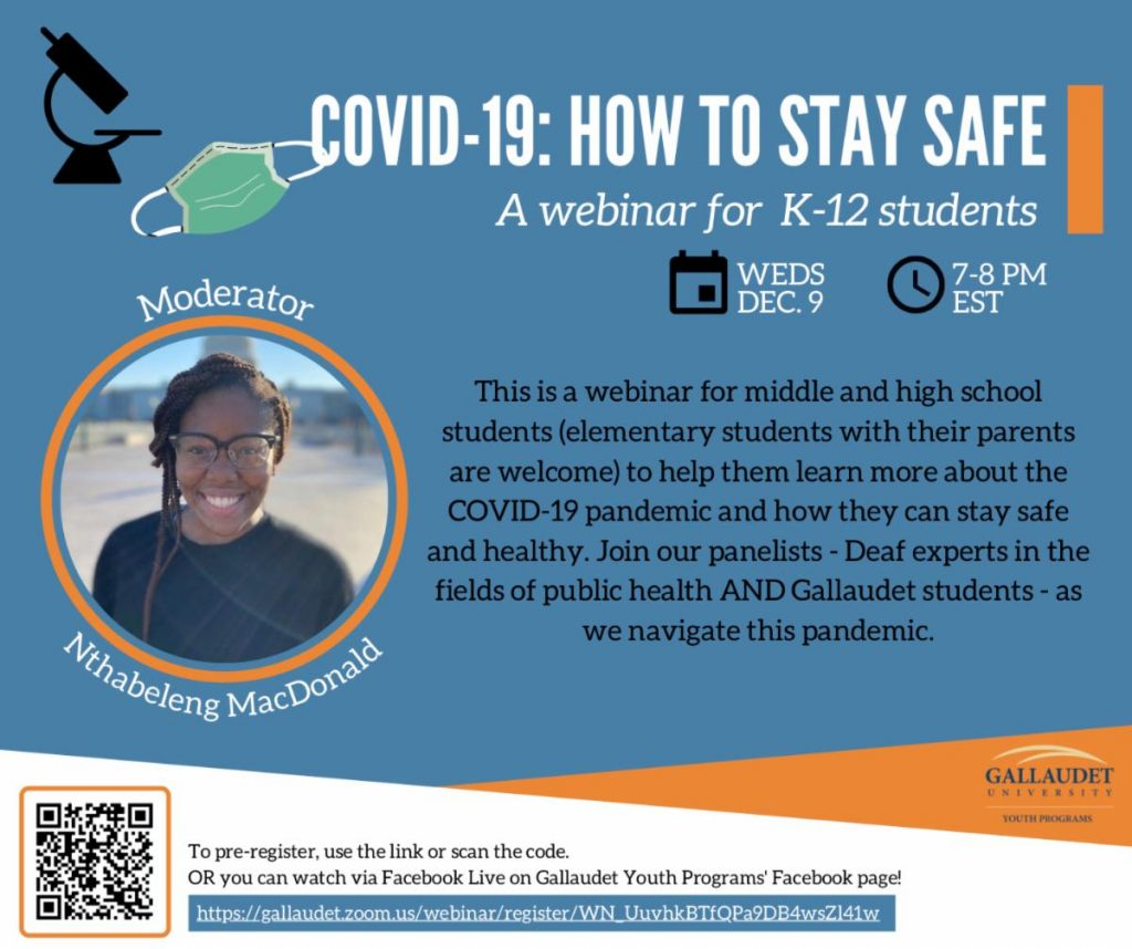Flyer for COVID-19 webinar offered by Gallaudet University.
