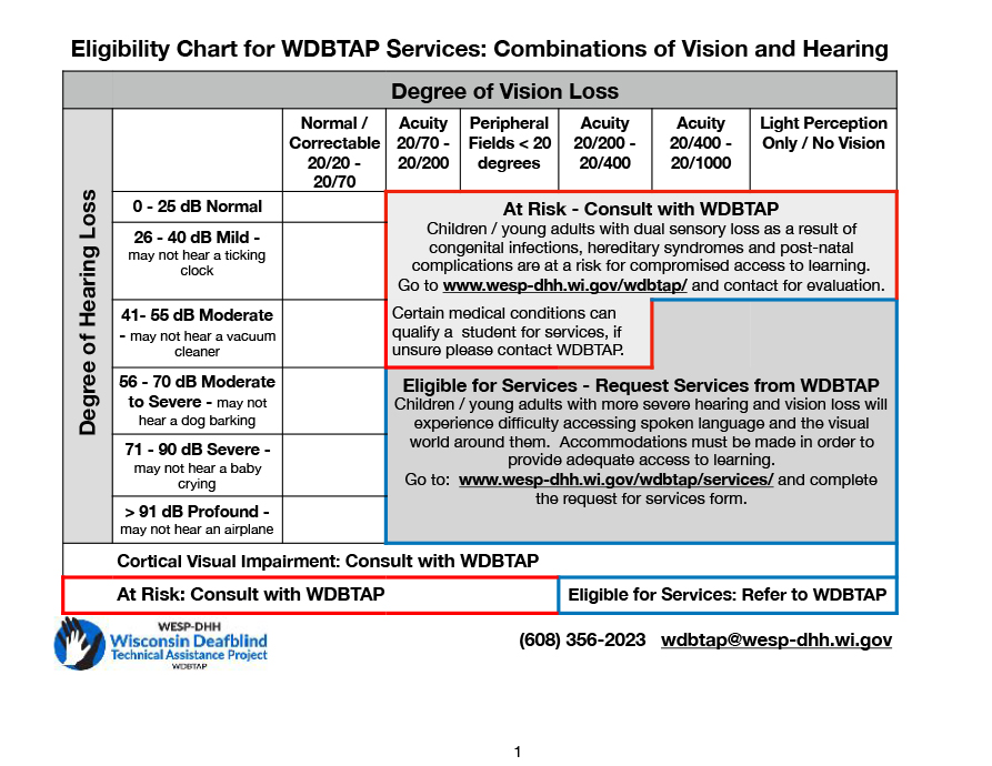 Complex chart outlining the criteria required to be eligible for services from WDBTAP.