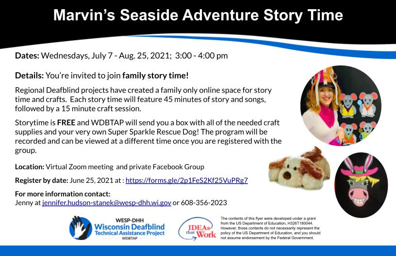Flyer for Marvin's Seaside Adventure Story Time.
