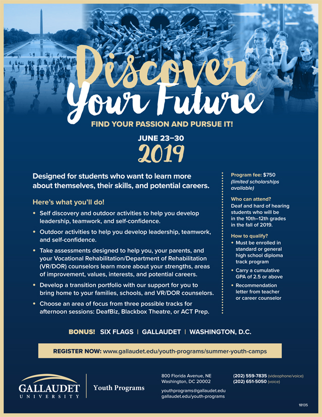Promotional flyer for Discover Your Future camp with blue background containing collage of blue and white images depicting students enjoying group activities and a visit to the National Mall. Text information (included below) is included in gold and white.