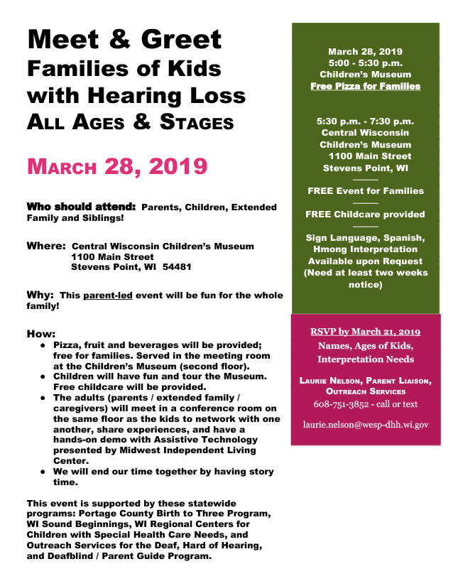 Promotional flyer for the March 28, 2019 meet & greet for families of kids with hearing loss all ages & stages. All text from the flyer is included on the page below.