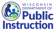 Wisconsin Department of Public Instruction logo with icon displaying an adult figure next to a child figure holding a book.