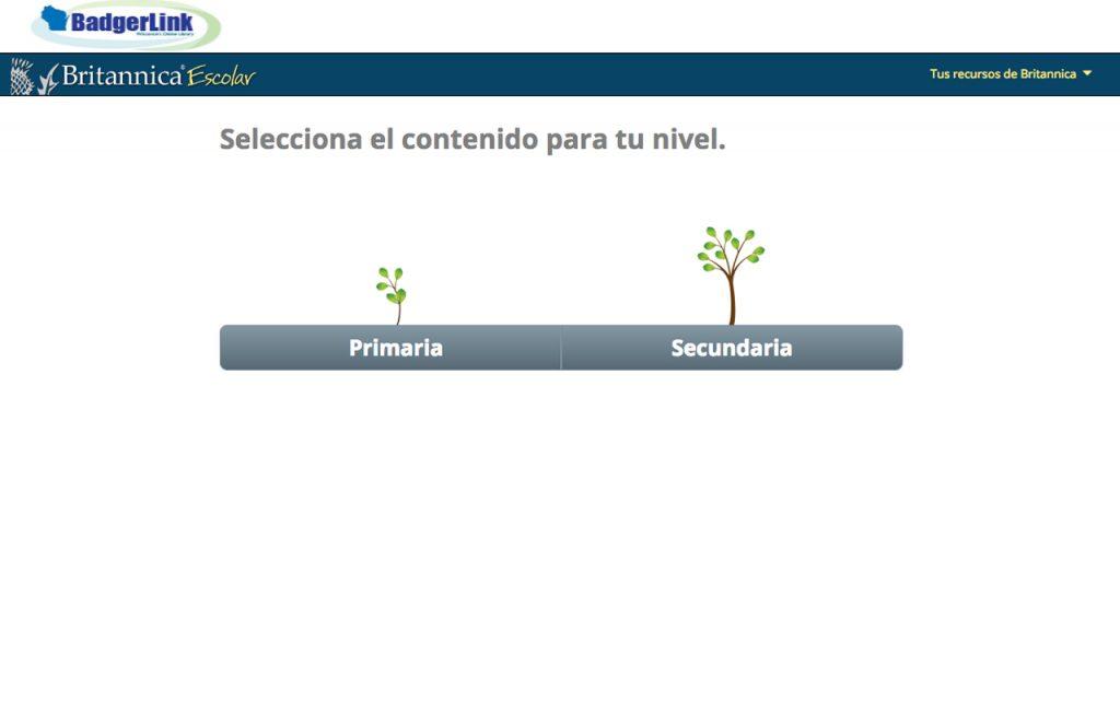 Screen capture of the Britannica Escolar website homepage.