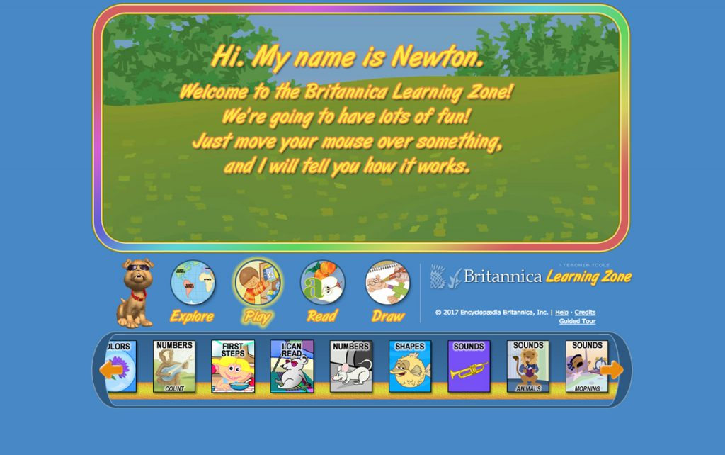 Screen capture of the Britannica Learning Zone website homepage.
