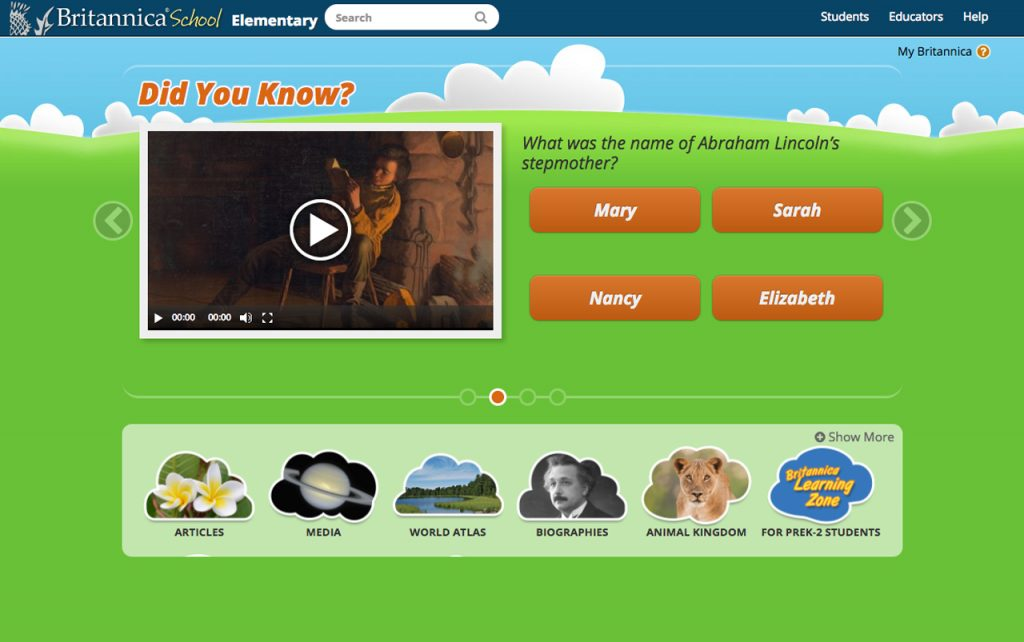 Screen capture of the Britannica School: Elementary School website homepage.