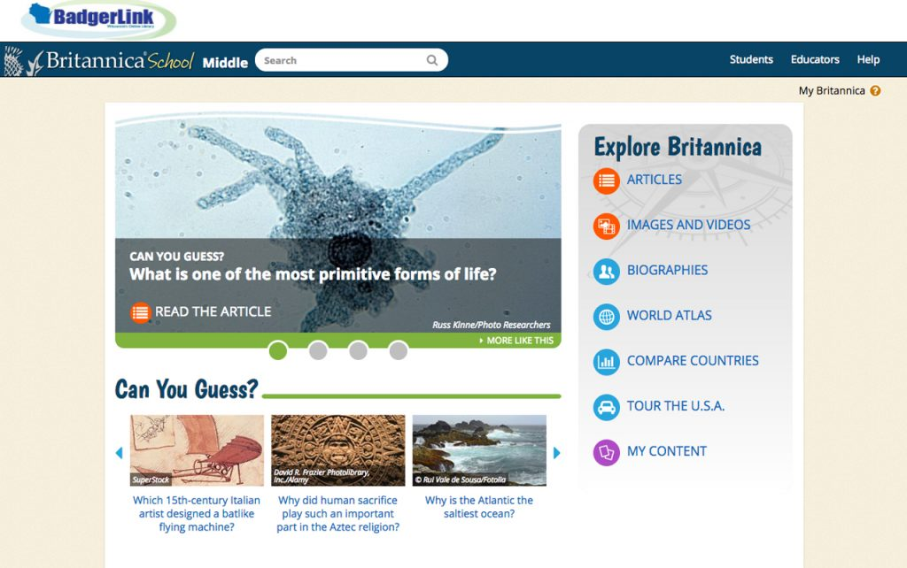 Screen capture of Britannica School: Middle School website homepage.
