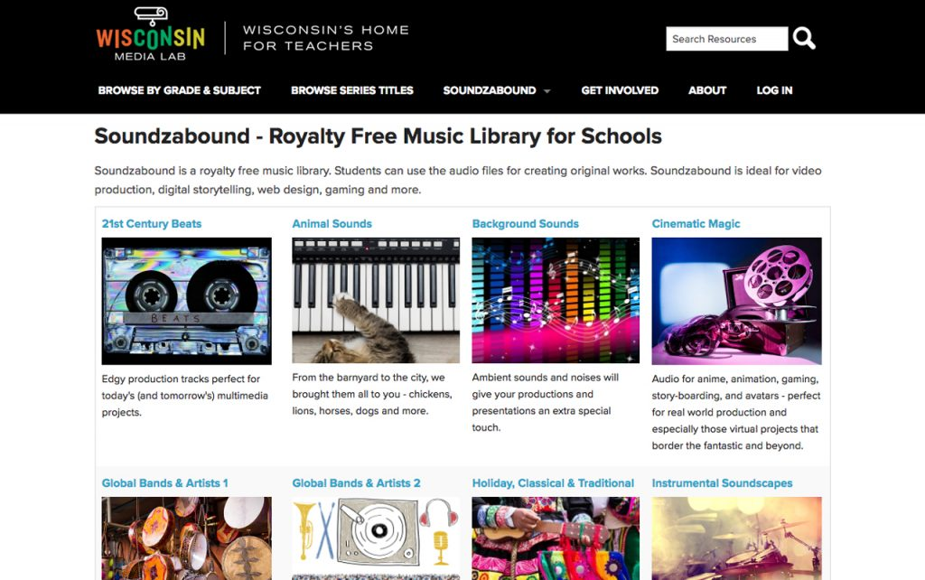 Screen capture of Soundzabound website homepage.